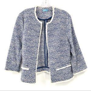 J McLaughlin Blue Spring Tweed Fringe Blazer M
